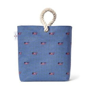 Vineyard Vines flag whale and gingham wine tote